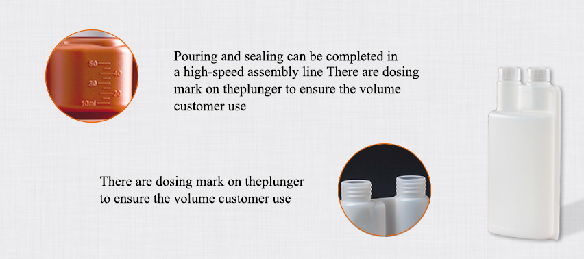 Advantage of 100ml twin neck bottle with dosing chamber: Dispenser chamber for measuring