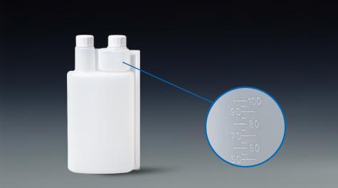 Production process of double neck bottle